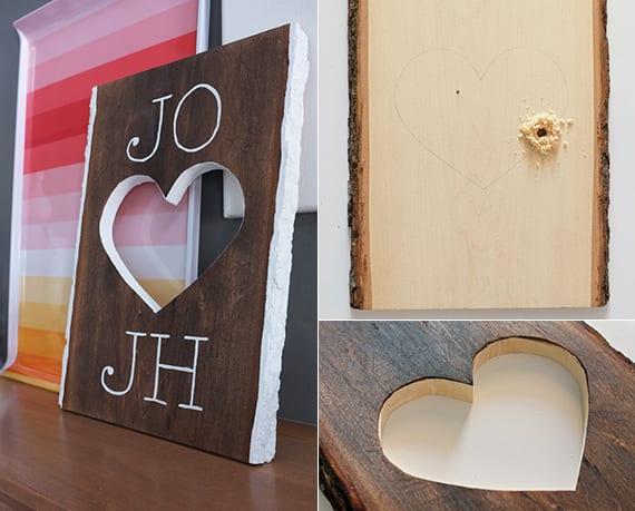kreatives basteln von Holzdeko für valentinstag
