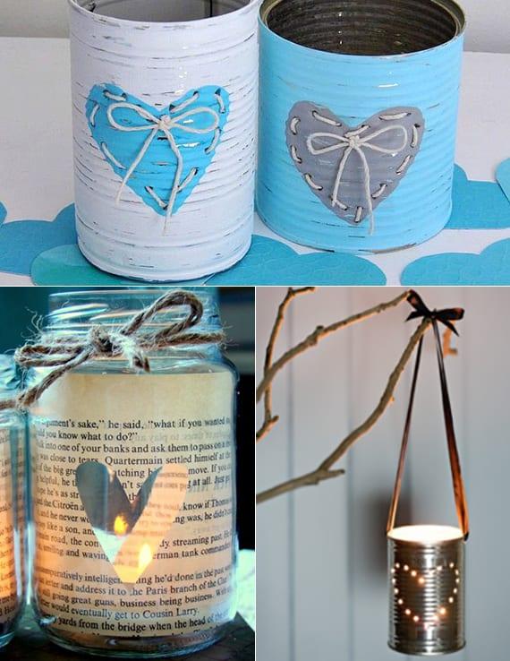 coole ideen valentinstag für romantische deko mit diy Teelichthalter aus dosen