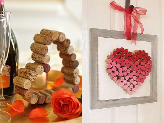 coole bastelideen für diy Herz aus korken als romantische dekoration am valentinstah