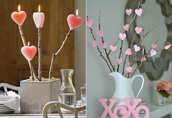 coole ud romantische tischdeko mit zweigen und herzkerzen in betonvase