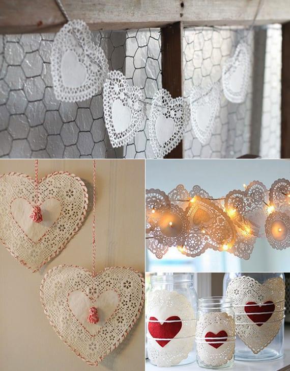 selbstgemachte Herzdeko mit spitzen-servietten_diy girlande mit herzen für valentinstag