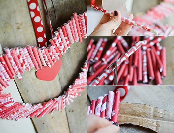 herz deko basteln mit papier und kartion als coole bastelidee für valentinstag