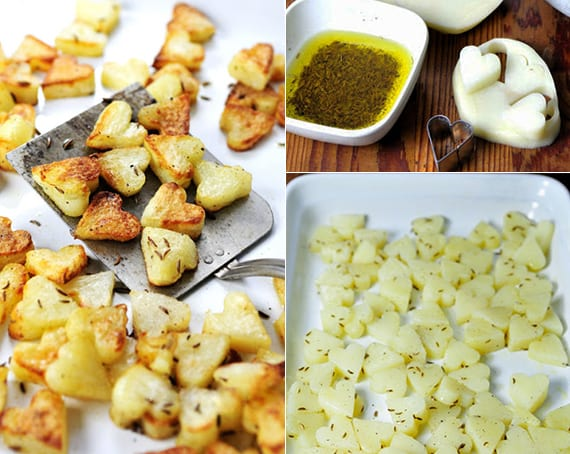 geröstete Kartoffeln in herzförm als Idee für romantisches essen kochen
