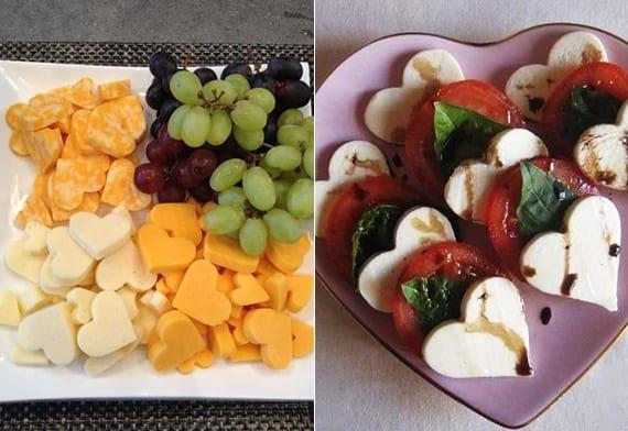 caprese salat rezept für verliebte und herzförmige kösehäppchen mit Traube als romantisches Valentinstag menü