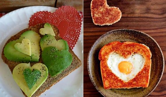 leckere valantinstag rezepte für toast mit ei und avocado in herzform