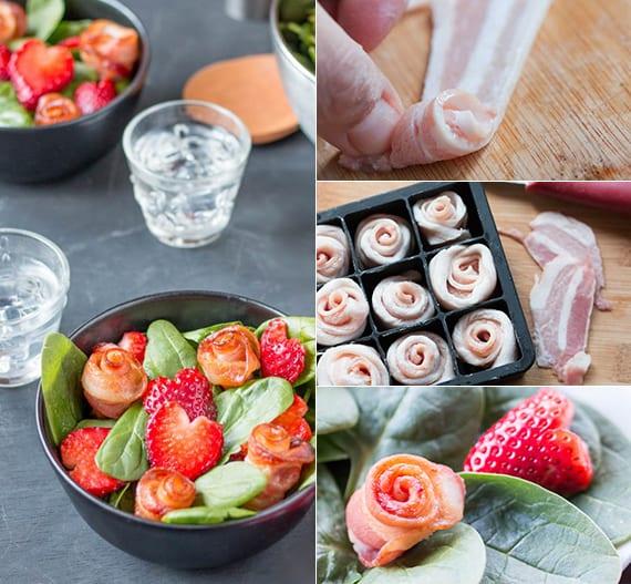 gesunder salat mit spinat und erdbeeren_romantische Vorspeisen zum valentinstag