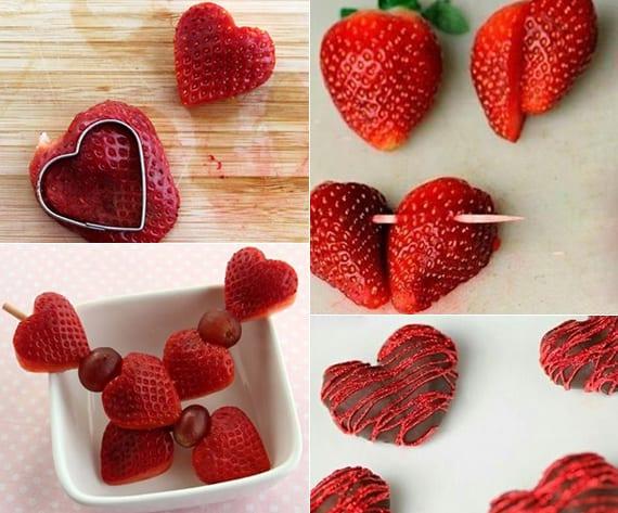 einfaches leckeres Dessert zum valentinstag mit erdbeeren in herzform