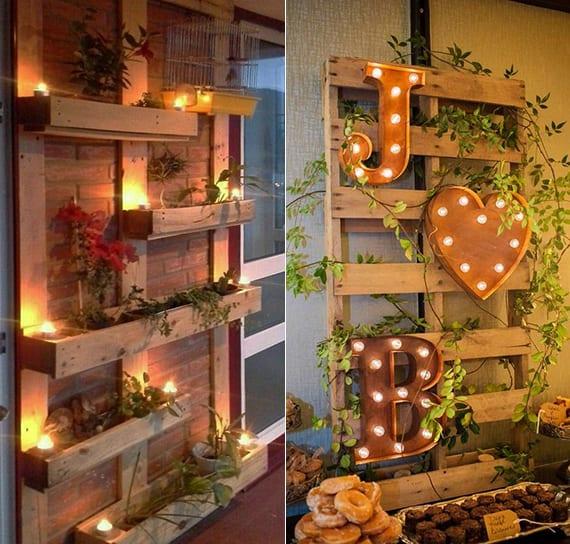 balkon und terrasse kreativ dekorieren mit paletten und lampen