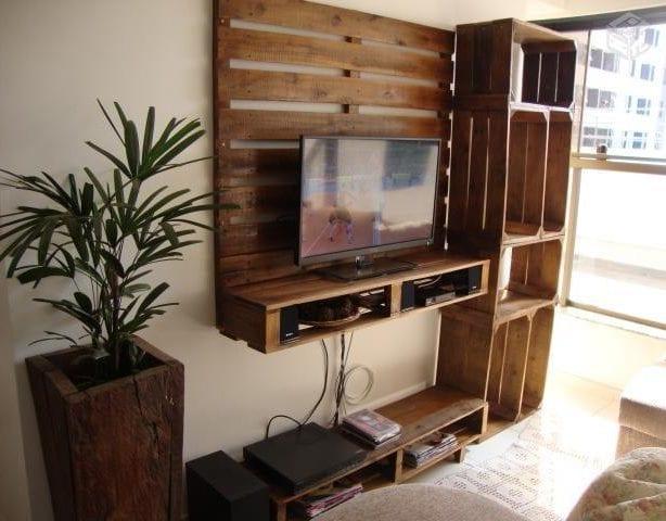 coole bastelidee für diy Wohnwand mit TV-Regal aus paletten