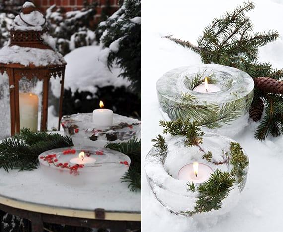 passende winterdeko für den garten im winter_gartentisch dekoideen mit selbstgemachten eislaternen