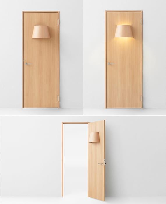 tür aus holz mit eingabauter lampe für moderne raumgestaltung und kreative raumbeleuchtung