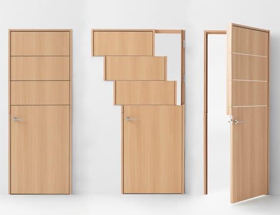 moderne Holztür mit schiebbaren elementen spielt die rolle vom fenster_moderne wohnideen für moderne einrichtung mit funktionalen Haus- und zimmertüren