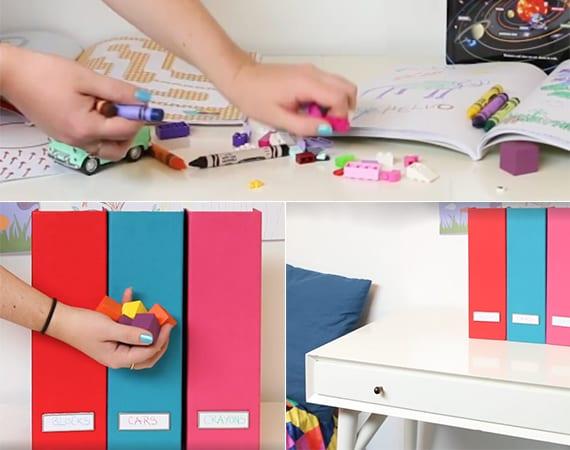 coole ideen für Aufbewahrung von Kinderspielzeugen in Zeitschriftensammler