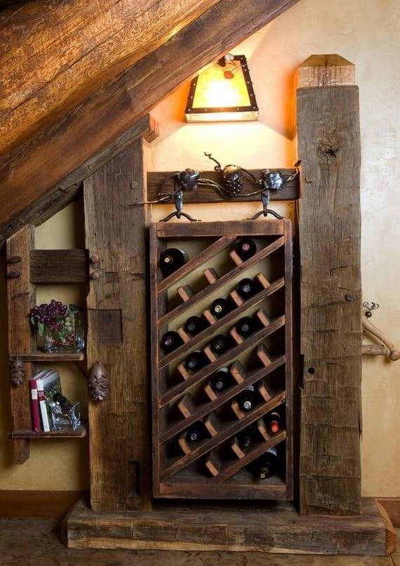 rustikales interieur mit diy Holzregal für weinflaschen