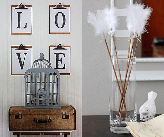 interessante dekoideen für valentinstag mit diy Amor-Pfeilen und Vintage-Deko mit Koffer, vogelkäfig grau und Love-Aufschrift
