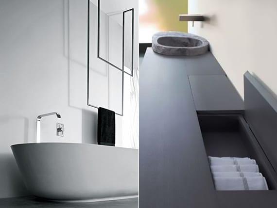moderne bäder modern ausstatten mit hänge-tuchhalter über der badewanne und modernem waschtisch mit rundem aufsatswaschbecken aus stein und stauraum für hand- und badetücher