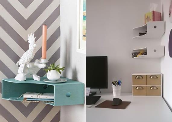 wandregale selber bauen aus zeitschriftsammlen_wand gestalten und dekorieren mit kleinen DIY Regalen um zimmer in ornung zu halten