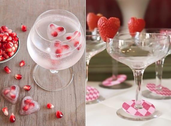 Tole Ideen Valentinstag Mit Herzeiswürfeln Und Gläserdeko Mit Erdbeerherzen