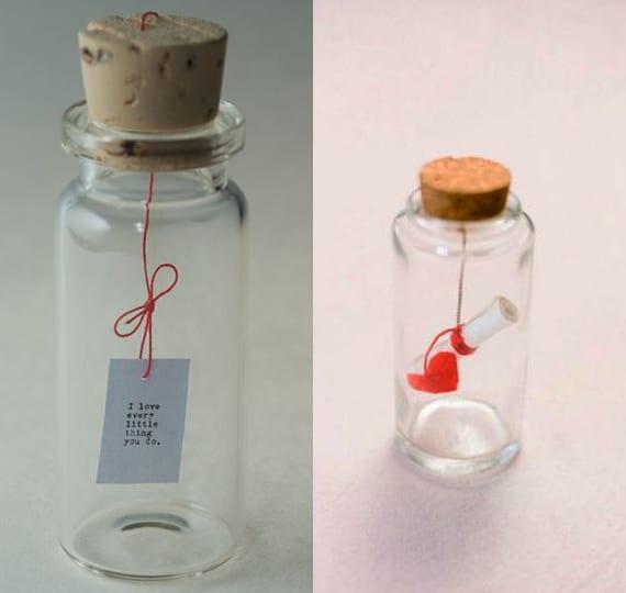 Flaschenpost geschenk selber machen mit kleiner Glasflasche mit korken