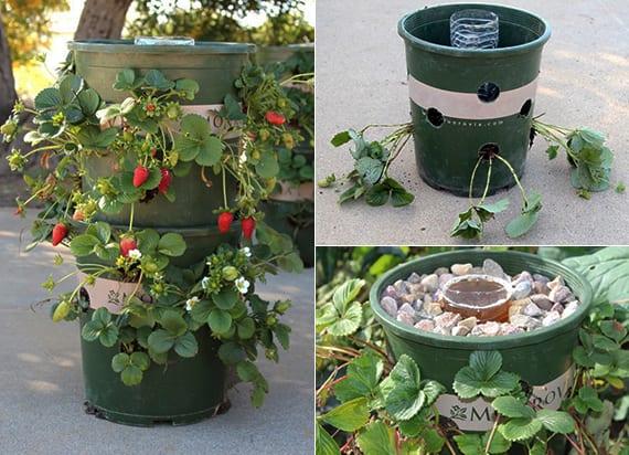 coole bastelidee für bepflanzung mit erdbeeren in diy Pflanzenturm