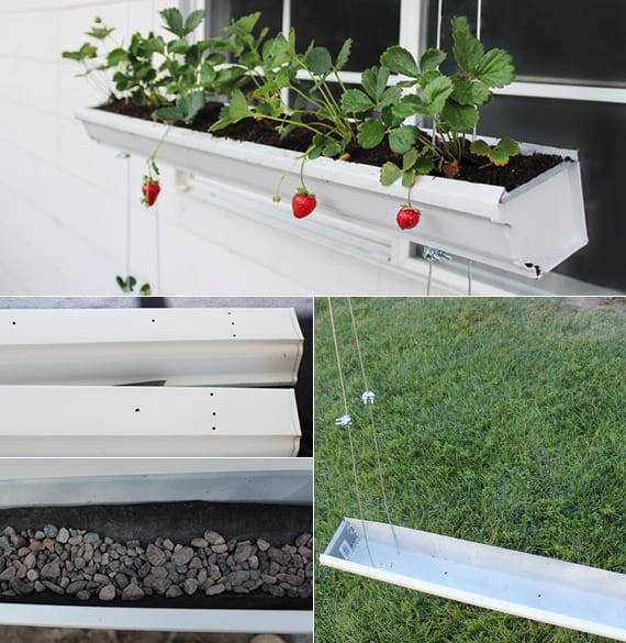 erdbeeren pflanzen in DIY Hänge-Pflanzkasten aus Rinnen als coole bastelidee für diy vertikalen Garten