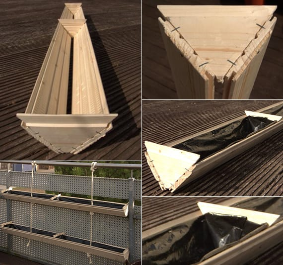 pflanzengefäße selber bauen aus holz für diy hänge-garten auf dem balkon