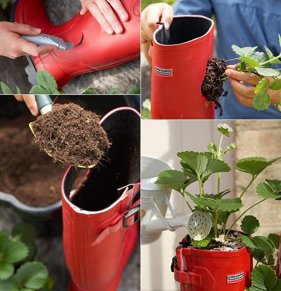 coole bastelidee für diy gartendeko und zum erdbeeren Pflanzen in gummistiefeln