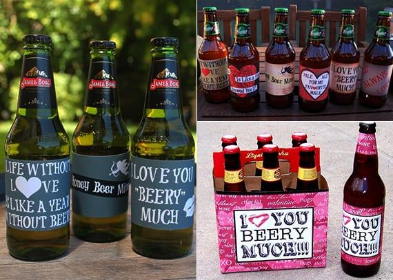 DIY Valentinstag-Etiketten für Bier- und Weinflaschen als kreative geschenkidee für ihn