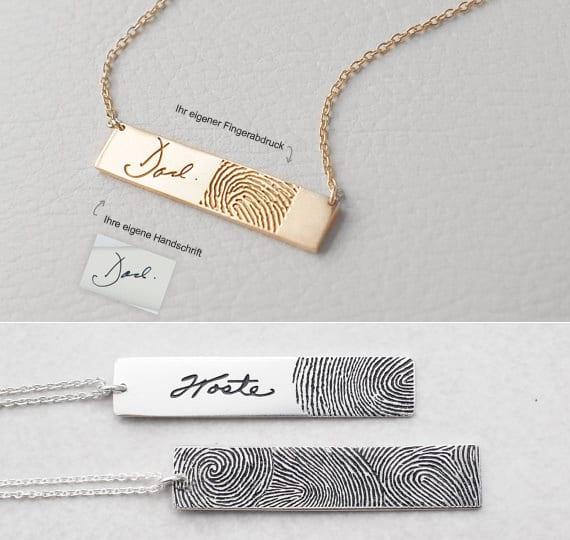 moderne halskette mit fingerabdruck als originelle geschenkidee für ihn und sie