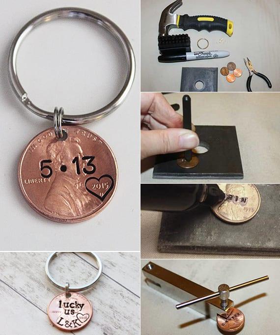 Münze Schlüsselanhänger als romantisches Valentinstaggeschenk basteln