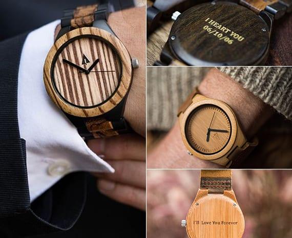 valentinstag ideen für kreative Geschenke für männer_moderne armbanduhr aus holz mit persönlicher botschaft