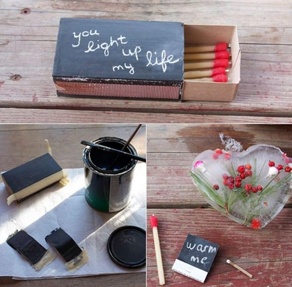 tolle geschenkideen für valentinstag mit Streichholzschachtel als DIY Valentinskarte