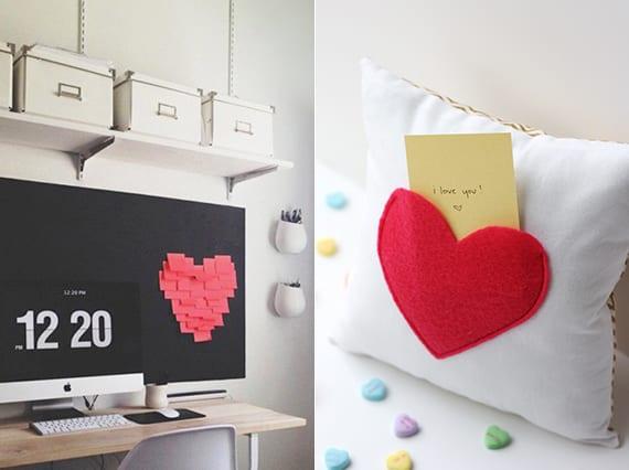 romantische wanddeko mit Herz aus klebezetteln und coole idee für romantische überraschung mit valentinskarte in Kissen mit Herztasche