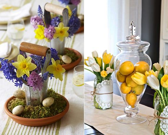 einfache und coole dekoideen für Ostertischdeko mit Zitronen und frühlingsblumen in kleinen metalleimern