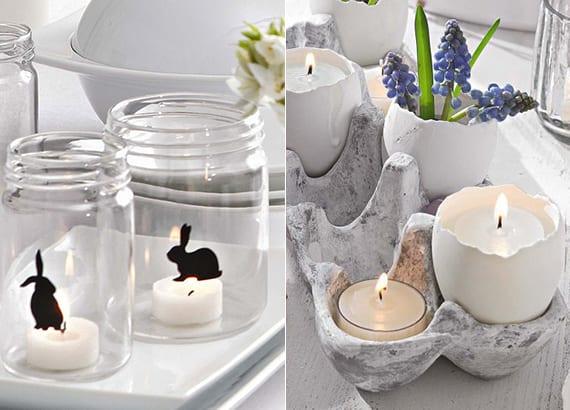 coole ostertischdeko ideen in weiß mit Frühlingsblümen und diy kerzen in Eierkarton und diy teelichthaltern mit Osterhasemotiv