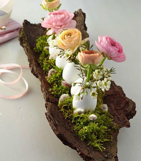 osterdeko basteln mit naturmaterialien und weißen Eierschalen