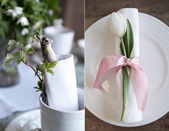 ostertischdeko ideen mit weißem stoffservietten gerollt und mit tulpe und osterhase dekoriert
