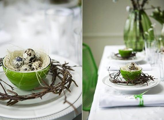 elegante tischdeko idee zum ostern mit wachteleiern in grünen schüsseln