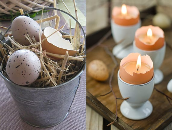 tisch festlich dekorieren zum ostern mit diy eierschale-kerzen und Ostereier in metalleimer mit Stroh als beispiel für rustikale osterdekoration