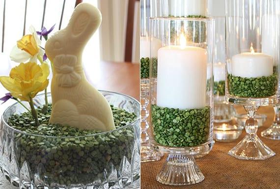 coole osterdeko basteln mit grüner linse und weißem schoko-osterhase