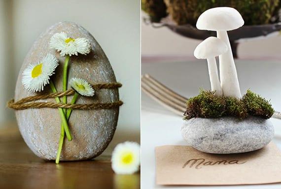 kreative bastelideen für diy osterdeko mit steinen