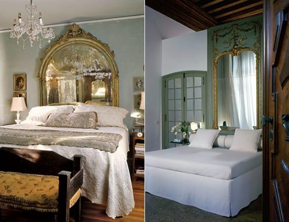 fantastische schlafzimmer ideen für dekoration mit spigel im klassischen Spiegelrahmen mit ornamenten und frische farbgestaltung in grün