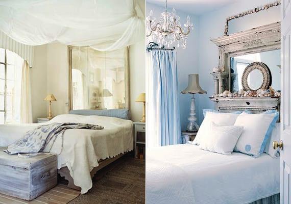 schlafzimmer romantisch gestalten mit wandfarbe hellblau oder weiß und spigel im vintage-Spiegelrahmen