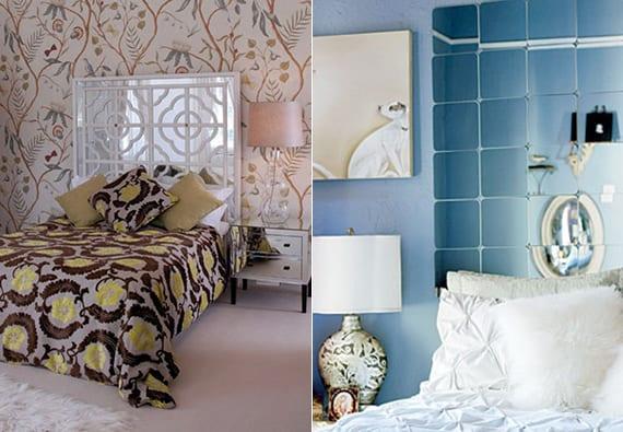 tolle schlafzimmer ideen für moderne wandgestaltung mit gemusterten tapeten, wandfarben und kopfbrett aus spiegeln