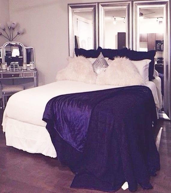 diy kopfbrett aus wandspiegeln in silbernen spiegelrahmen als dekoidee für kleine schlafzimmer