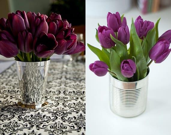 elegante tischdeko mit lila tulpen in silberner vase oder dose