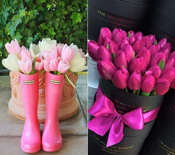 coole gartendeko frühling mit weißen und hellrosa tulpen in gummistiefeln und moderne blumendeko mit tulpen in schwarzem kartonbox rund
