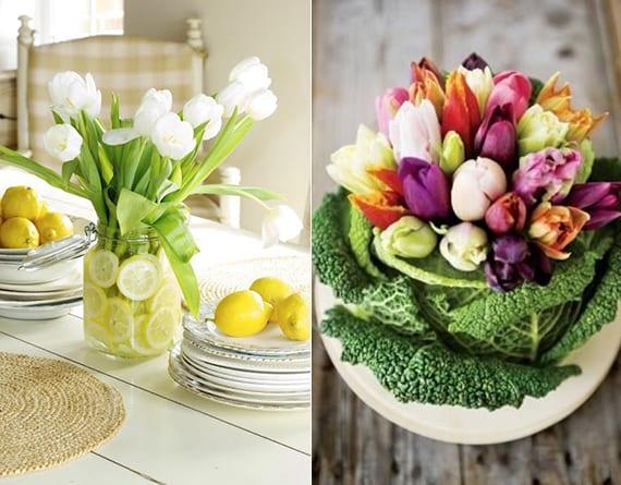 coole blumendeko im Frühling mit weißen tulpen und zitronenscheiben im einmachglas und tulpenschtrauß im wirz