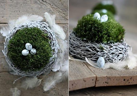 rustikale osterdeko basteln mit nest aus Grün in kranz aus zweigen