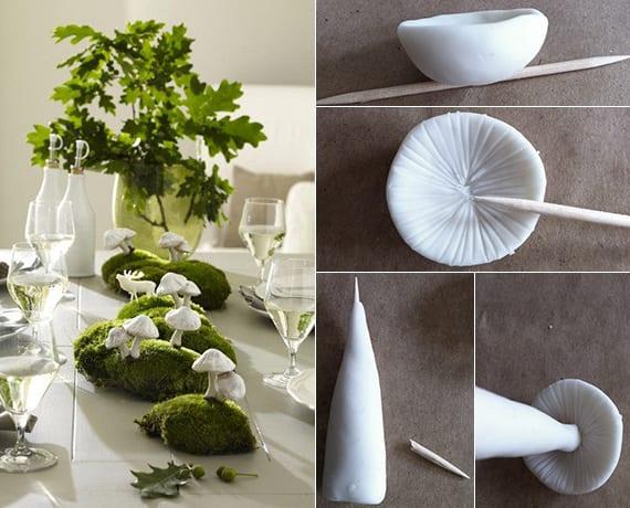 toole dekoidee für tischdeko in grün und weiß mit diy pilzen aus ton, moos und eichbaum zweig